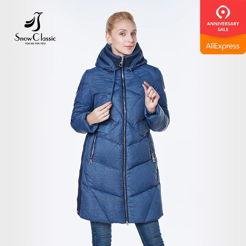 SnowClassic 2018 mulheres jaqueta camperas mujer abrigo invierno mulheres casaco parque Espessa seção de Usar um chapéu botão Lateral Europeu desig