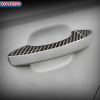 4PCS Carbon Fiber Door Handle Anti collision Strips Car Stickers For Audi A6 C7 interior trim accessories Car Styling 2011 2018