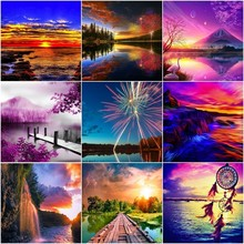 Huacan Diamond Embroidery Landscape 5D Cross Stitch Painting Full Square Scenery Rhinestones Mosaic Set