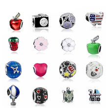 Fit Pandora Charms Silver 925 Original Bracelet Jewelry Valentine's Day Mary Poppins Bijoux Sieraden Pave Beads(China)