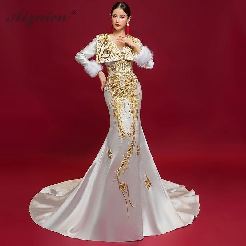 Women Chinese Evening Dress Cheongsam Modern Oriental Style Trailing Fashion Show Gown Host Dresses White Robe Orientale Femme