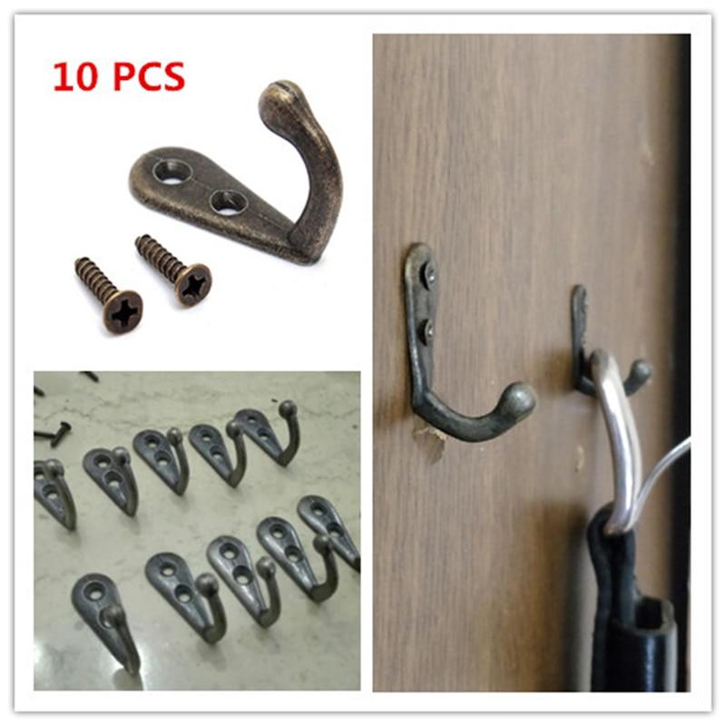 10PCS Cloth Hook Hangers Vintage Bronze Wall Hook Rustic Key Coat Bag Hat Hanger Rustic Robe Hooks Wall Hanging Hooks Coat Rack