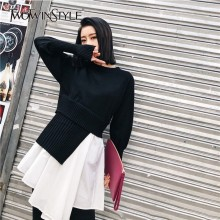 TWOTWINSTYLE Korean Patchwork Pleated Sweater Dresses Lantern Sleeve Dress Female