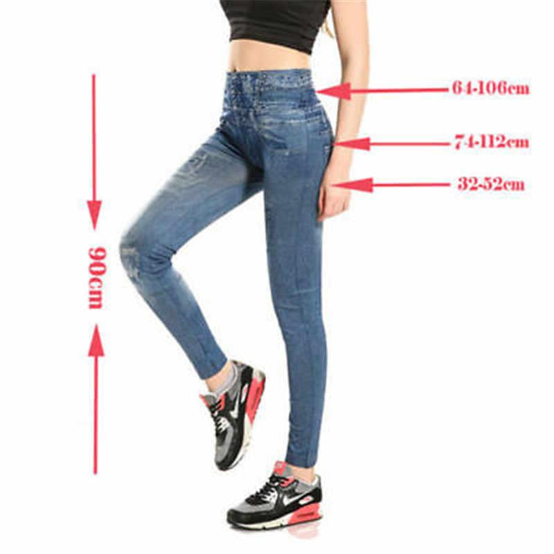2019 Baru Wanita Tinggi Pinggang Skinny Jeans Panjang Seluar Jegging Denim Pecil Cetak Celana Wanita Slim Elastis Ketat Celana Celana 4 Warna