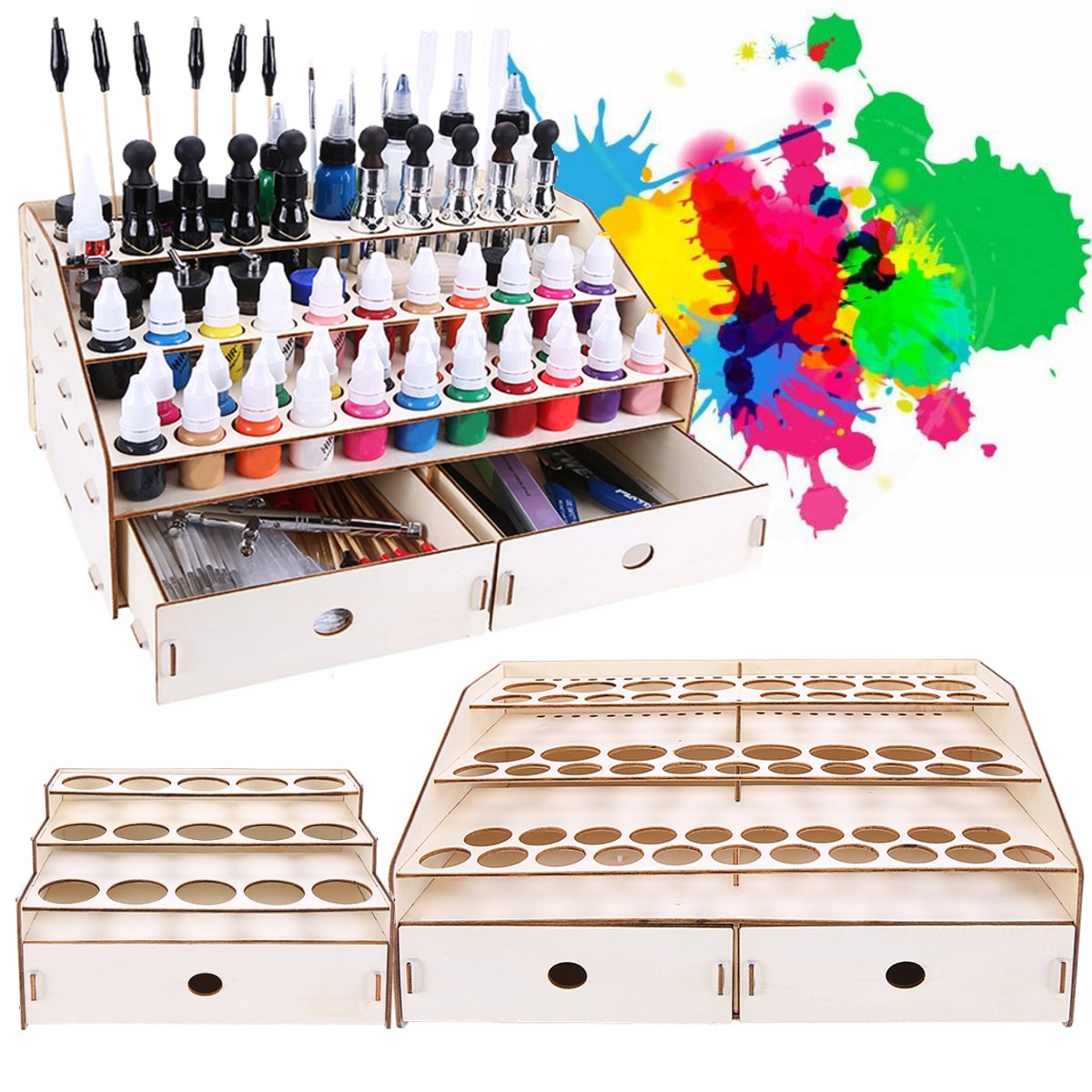 3 Layers Wooden Pigment Bottle Drawer Storage Organizer 15/80 Holes Color Paint Ink Brush Stand Rack Modular Holder