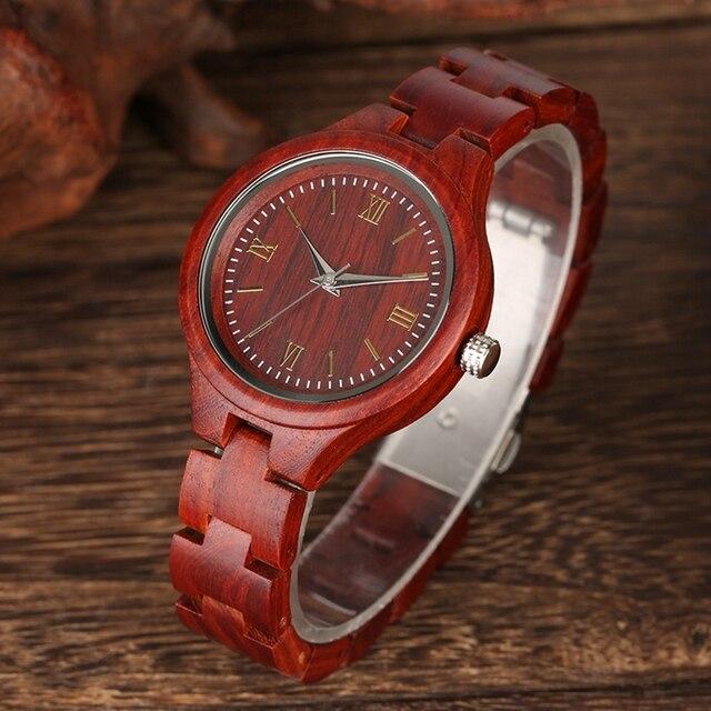 Reloj de mujer de sándalo rojo elegante vestido Delgado pulsera de madera completa reloj hora mujer reloj de pulsera de cuarzo reloj de mujer