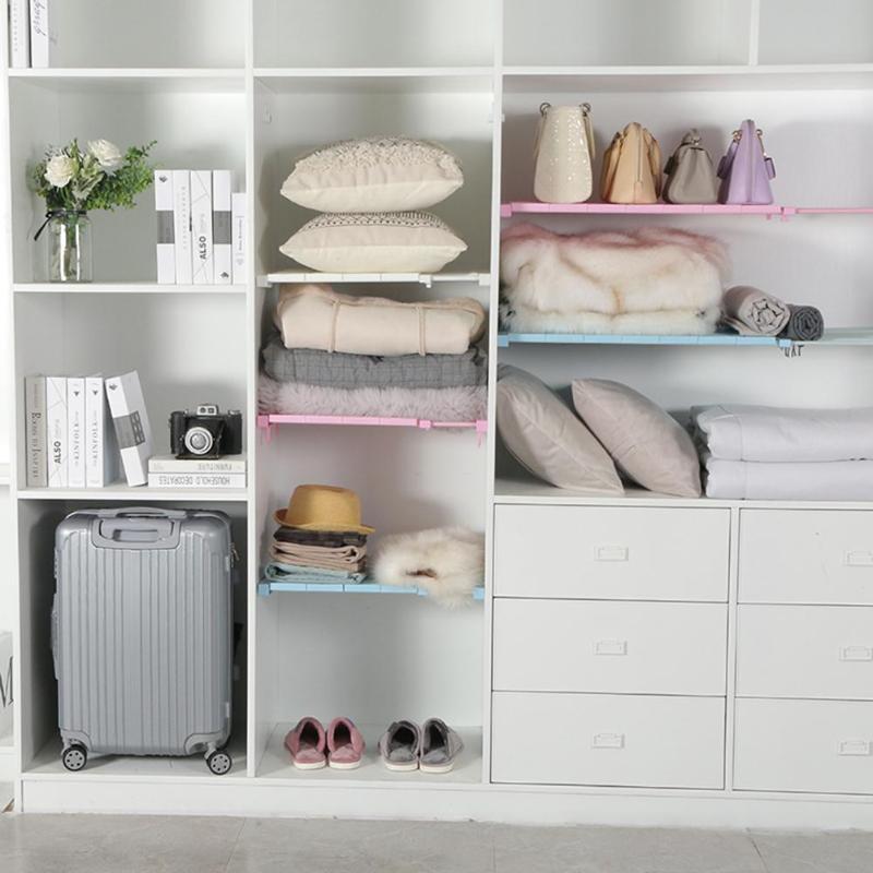 Adjustable Closet Organizer Storage Rack Wall Mounted Kitchen Racks Space Saving Wardrobe Cabinet Shelf Holder Storage Organizer