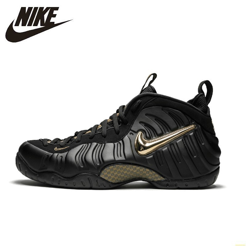 Nike Air Foamposite Black Gold Bubble Men Basketball Shoes New Arrival Comfortable Air Cushion Sneakers #624041-009(China)