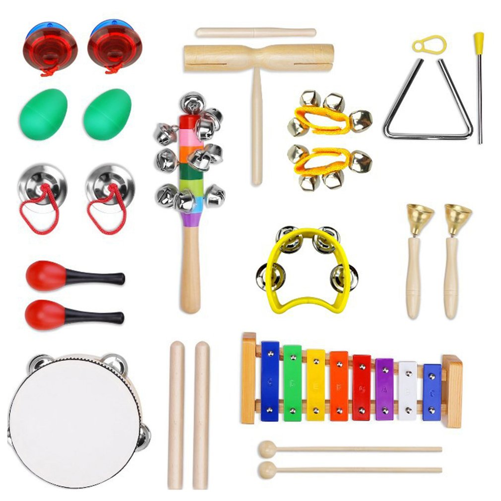 13 pièces enfants Instruments de musique ensemble rythme et musique éducation jouets bande ensemble bambin en bois Percussion jouet pour enfants avec étui