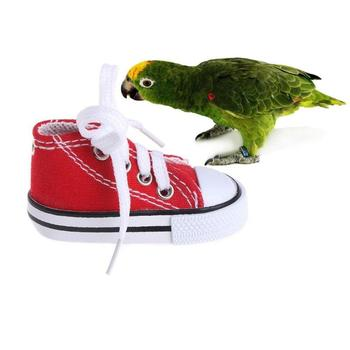 4Pcs/Set Funny Mini Canvas Shoes Toy Set Bird Chew Bite Toys Hanging Cage Decoration Parrot Pet Supplies