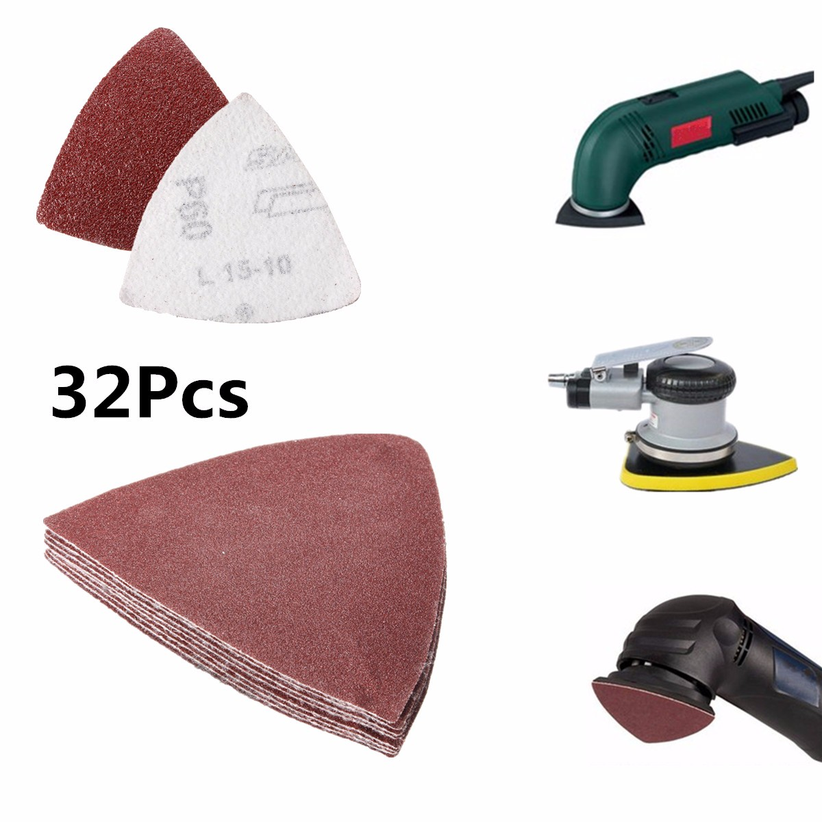 32Pcs 80mm Hook And Loop Delta Sand Paper Sanding Sheet For Oscillating Multi-Tools 60 120 180 240 Grit