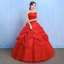 Красное свадебное платье с открытыми плечами, элегантное бальное платье без бретелек, кружевное свадебное платье принцессы, свадебное платье