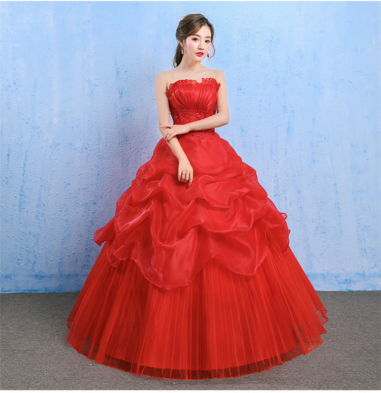 Off Shoulder Red Wedding Dress 2020 Elegant Ball Gown Strapless Lace Back Princess Bridal Wedding Gowns Robe De Mariée Princesse