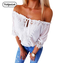 Pickyourlook Slash Neck Women Blouses Shirt Summer 2019 Sexy Lace Hollow Out Belted Female Blouse White Guipure Lady Tops