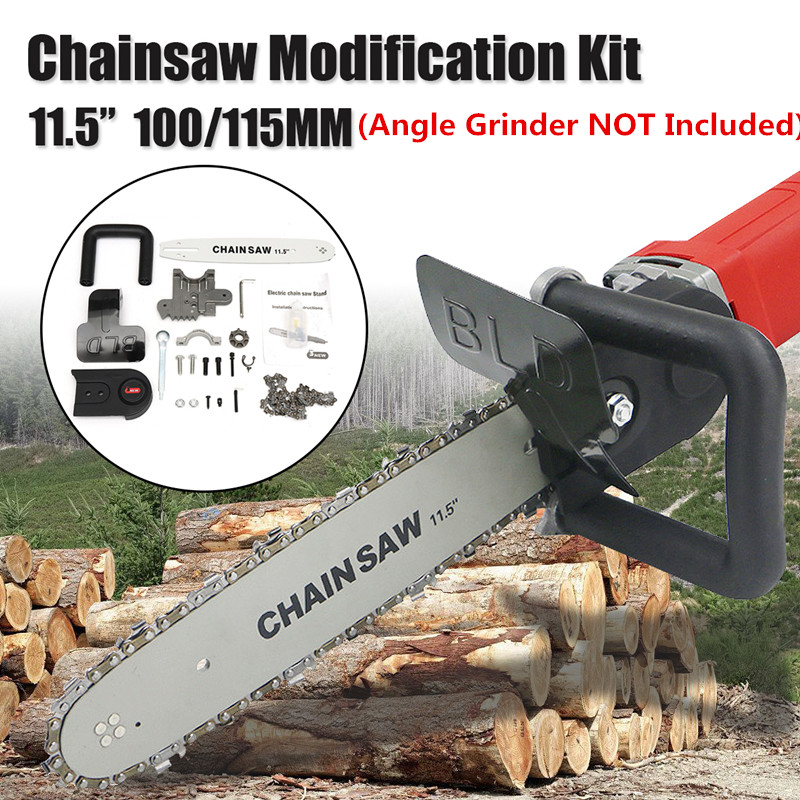 11.5 Inch Electric  Chain Saw Bracket Set  For 100mm /115mm Angle Grinder DIY Chainsaw Guide Bar Transfer Conversion Head11.5 Inch Electric  Chain Saw Bracket Set  For 100mm /115mm Angle Grinder DIY Chainsaw Guide Bar Transfer Conversion Head