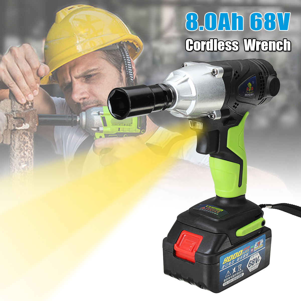 цены 68V 8000mAh Cordless Electric Wrench 420Nm 1/2'' Chuck with 1 Batteries 1 Charger Rechargeable Electric Wrench Power Tools