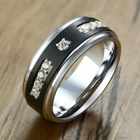 Textured Tungsten Carbide Engagement Rings for Men with AAA Cubic Zirconia Promise Love anel Jewelry