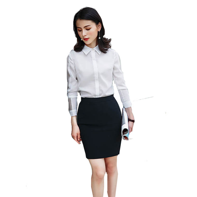 2018 Women Formal Work Suits White Blouse + Black Skirt Or Pant 2 Pieces Suits Elegant Business Suits formal wear