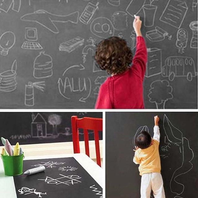 New Chalk Black Stickers Decor Wall Draw Blackboard With 1 Piece Sticker Plain Mural Home Office Portable kids Writing board