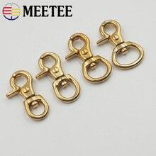 Meetee 4pcs 8/10/12/15MM Pure Solid Brass Metal Bag Buckle DIY Sewing Handmade Key Chain Buttons Dog Snap Hook AP489