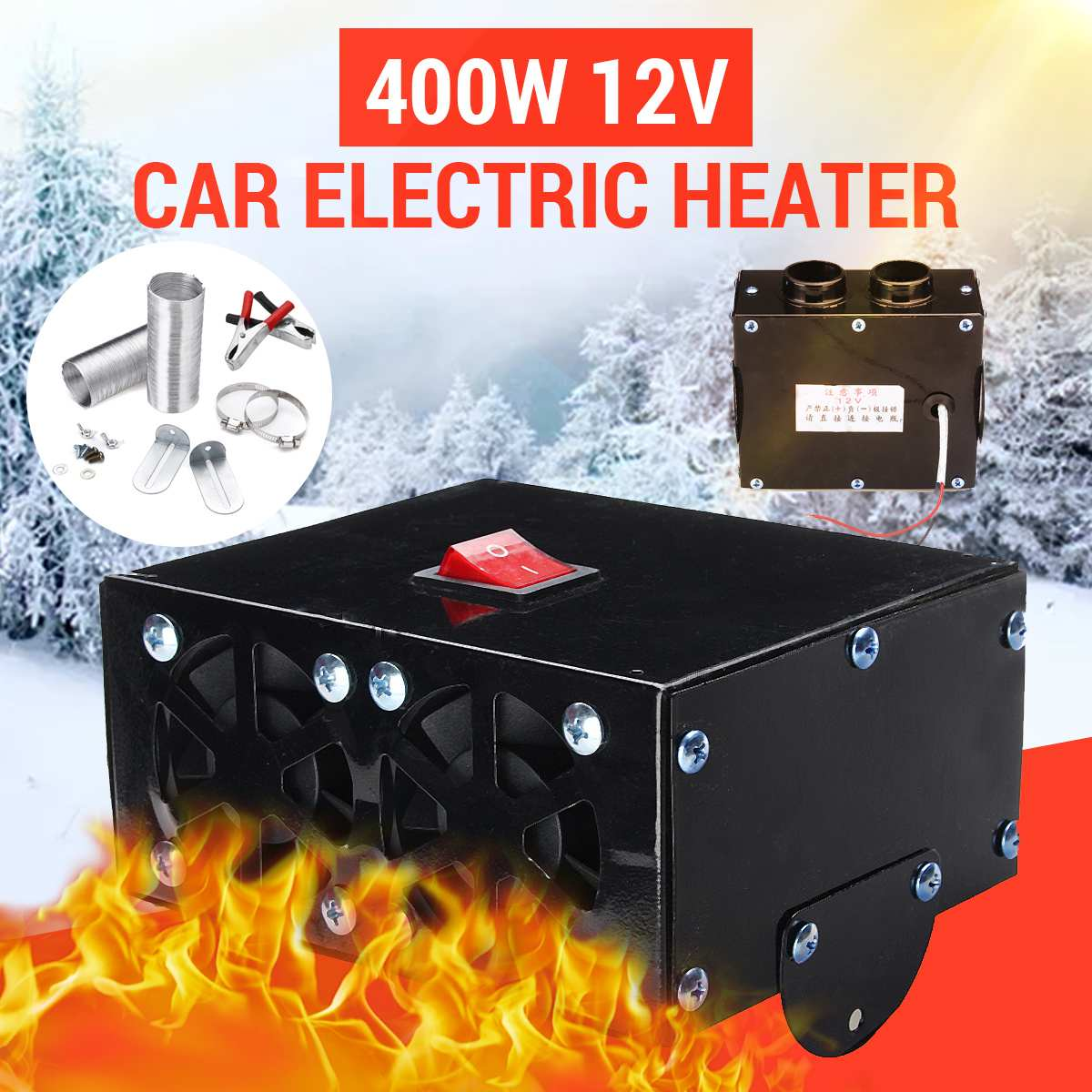 400 W 12V Car Vehicle Fan Heater Defroster Demister Hot Heating Warmer