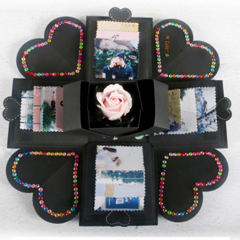 1pc 12x12x12cm DIY Surprise Love Explosion Box Gift For Anniversary Wedding Scrapbook Photo Album