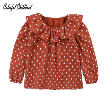 цены на Lovely cozy petal-pan collar long sleeve shirt for girls cotton linen blouse Spring polka dot princess tops children C  в интернет-магазинах