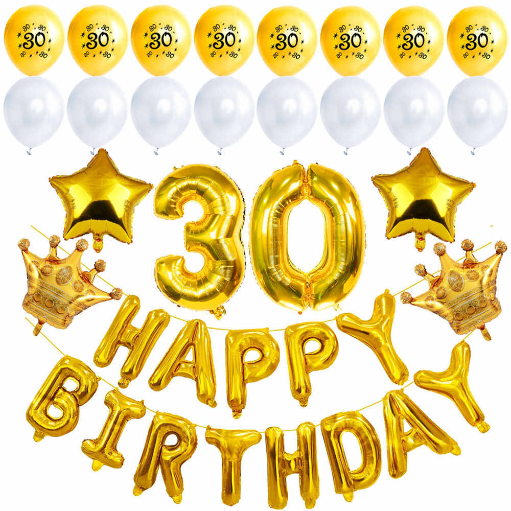 ZLJQ 30th Birthday Party Decoration Supplies For Him Her Banner Balloons Golden Jumbo Number 30