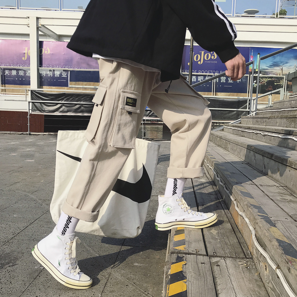 2019 Men's Fashion Cotton Loose Casual Cargo Pocket Pants Streetwear Black/khaki Color Trousers Joggers Sweatpants Size M-2XL