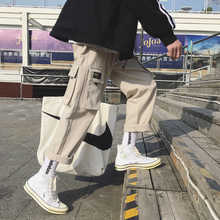 2019 Men\'s Fashion Cotton Loose Casual Cargo Pocket Pants Streetwear Black/khaki Color Trousers Joggers Sweatpants Size M-2XL - DISCOUNT ITEM  10% OFF Men\'s Clothing