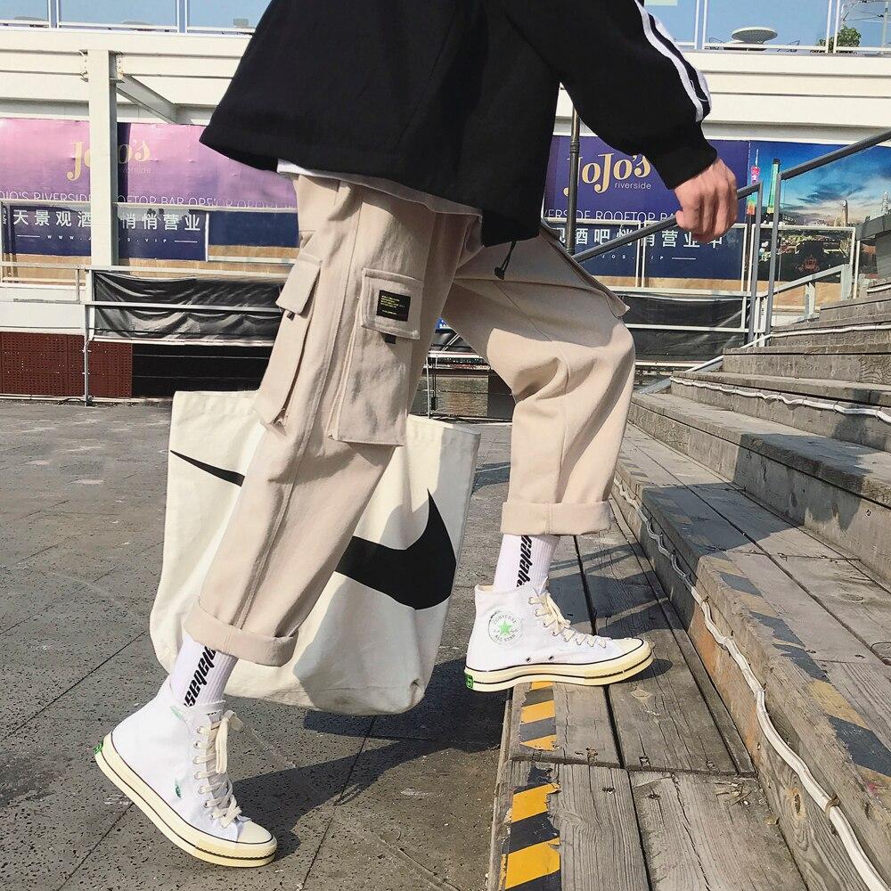 2019 Moda Algodão Solto Casual Bolso Da Calça de Carga dos homens Streetwear Preto/khaki Cor Calças Corredores Sweatpants Tamanho M-2XL