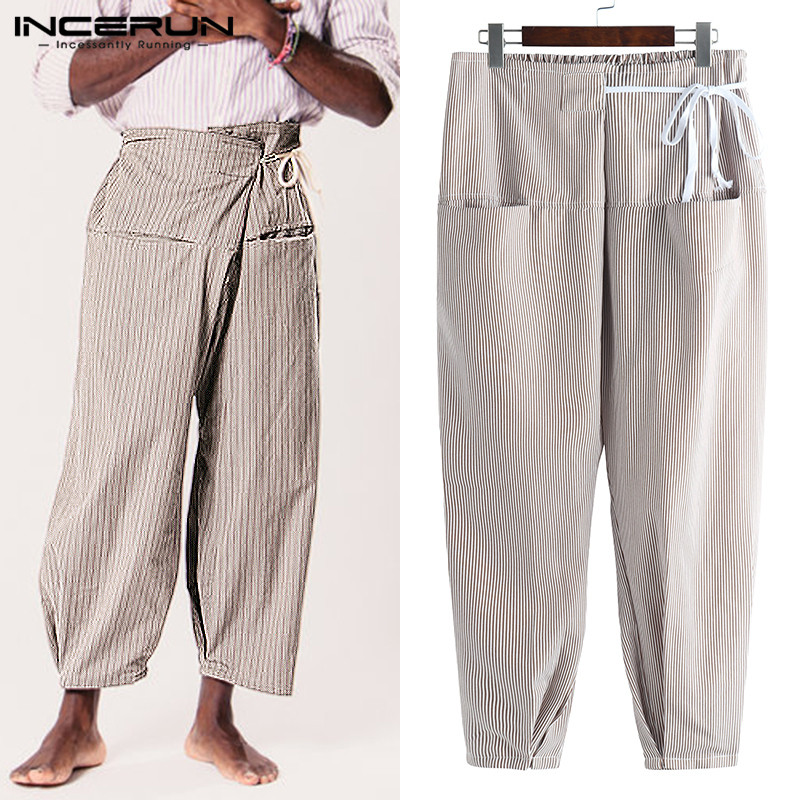 INCERUN Striped Thai Fisherman Pants Men Pockets Lace Up Casual Joggers Men Yoga-pants Vintage Loose Trousers Men 2019 Plus Size