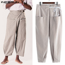 INCERUN Striped Thai Fisherman Pants Men Pockets Lace Up Casual Joggers Yoga-pants Vintage Loose Trousers 2020 Plus Size