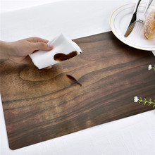 4PCS Marble Stripe Placemat Imitation Wood Grain PVC Rectangle Table Mat For Dining Heat Insulation Placemats