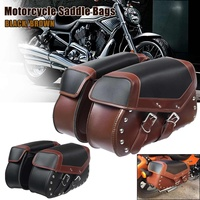 Pair Universal Motorcycle Saddle Bags Motorbike Side Luggage Storage Fork Tool Pouch