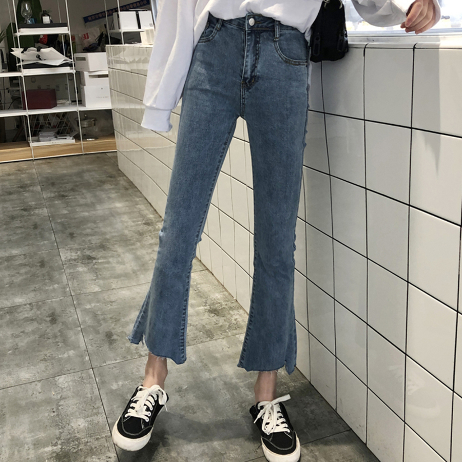 Solid Wash Jeans Woman High Waist Summer Denim Pants Women Casual Ankle-Length Flare Female