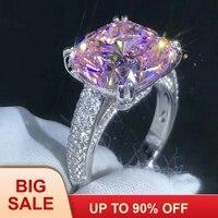 Роскошные кольцо округлой формы 925 пробы Серебряная Подушка с 4ct AAAAA Cz камень Обручение обручальное кольцо кольца для женщин Свадебные украш