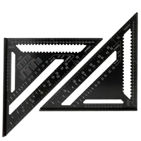 Aluminum Alloy For Triangle Rulers 90 degrees 45 degrees Set Square 12in Black Metric Square Ruler