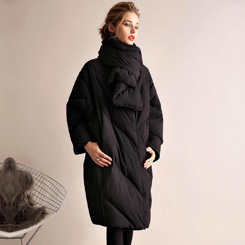 467f9b8da0c ... Womens Down Jackets Brands Thick Warm Plus Size Loose White Duck Puffer  Jacket Long Goose Feather ...