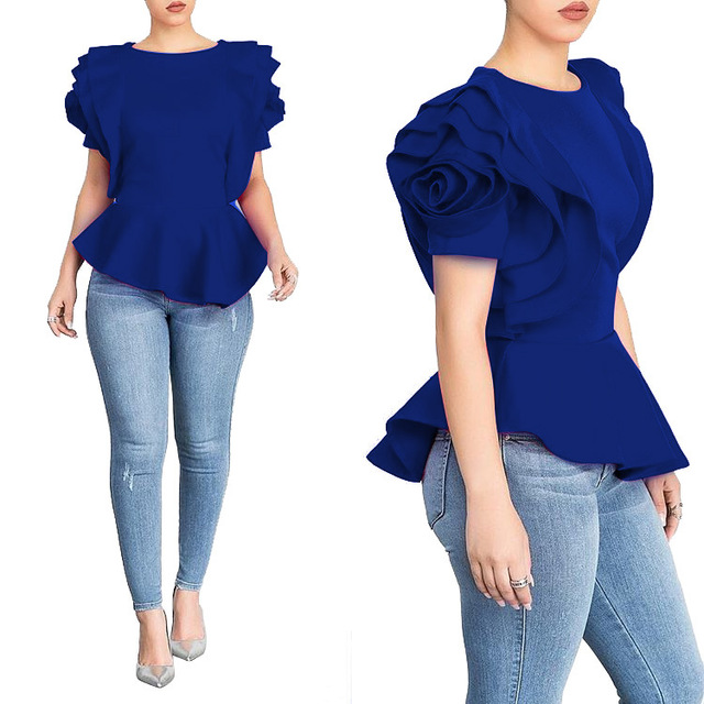 Women Blouse Tops Shirt Layers Petal Sleeves Elegant Fashion Spring Summer Rose Red Blue Black White Bluas Ruffles Classy Lady