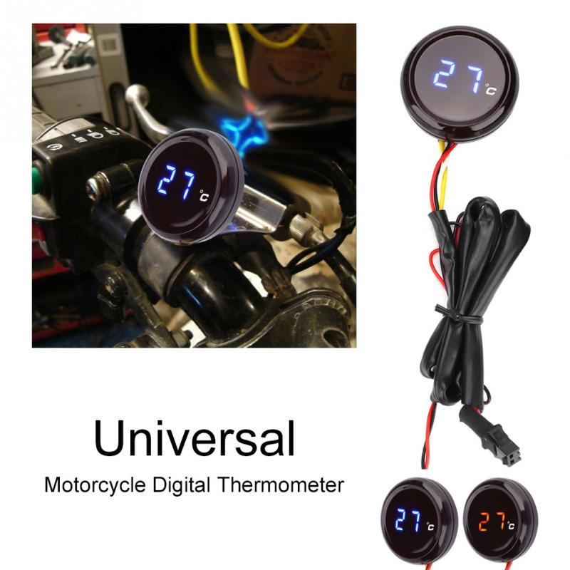 Red Motorcycle Thermometer Digital Thermometer Water Temperature Meter Gauge for Honda Kawasaki Yamaha Suzuki BMW Series