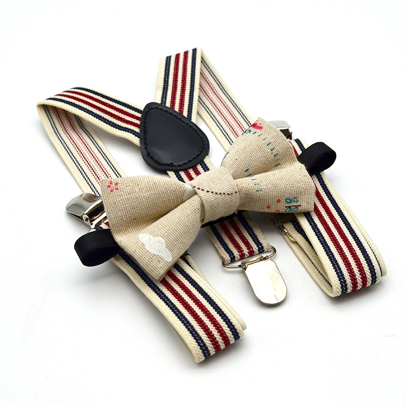 New Men And Women Children 3 Clip Stripe Strap Clip Printing Bow Tie Suit Elastic Elastic Straps Hanging Pants Clip