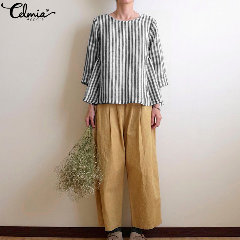 Celmia Women Retro Linen Blouses Summer Striped Shirts Ladies 3/4 Sleeve Loose Casual Tops Harajuku Blusas Mujer 2019 Plus Size