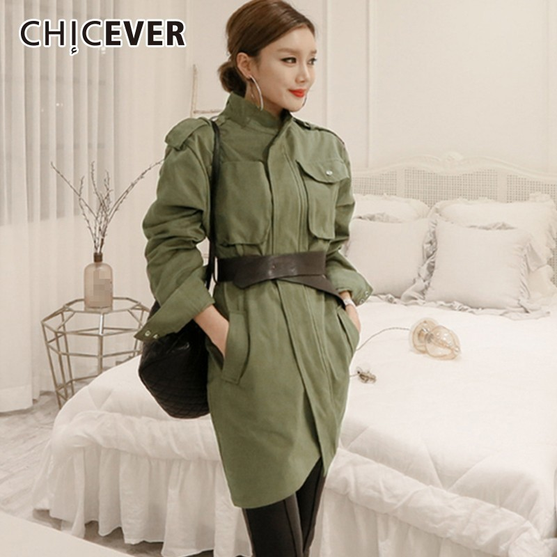 CHICEVER Autumn Women's Windbreaker Long Sleeve Adjustable Waist Vintage Slim Bodycon   Trench   Female Coat Korean Fashion Clothing
