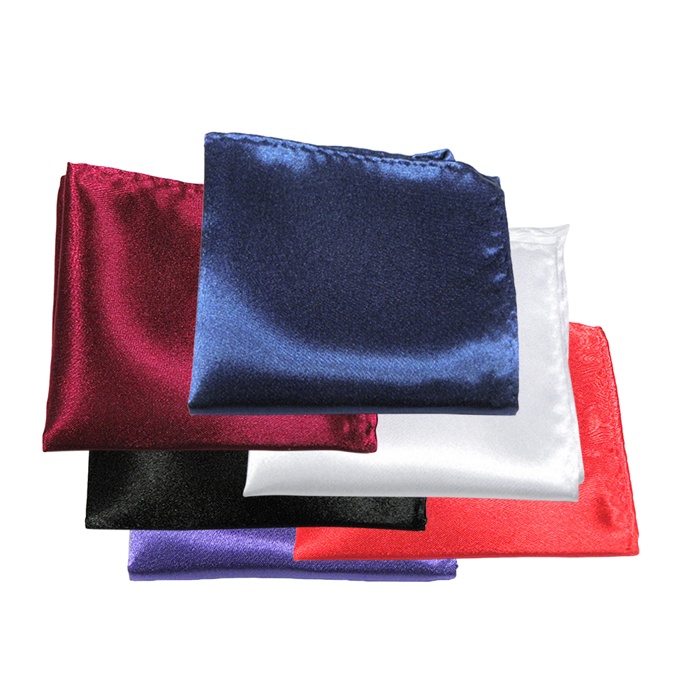6pcs Mens Suit Pocket Squares Wedding Handkerchiefs (Bright Red & Wine Red & Black & White & Purple & Navy Blue)