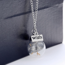 High Quality Elegant Dandelion Lucky Wish Pendant Necklace Round Glass Alloy Chain Trendy Unique Jewelry Birthday Gift For Women цена 2017