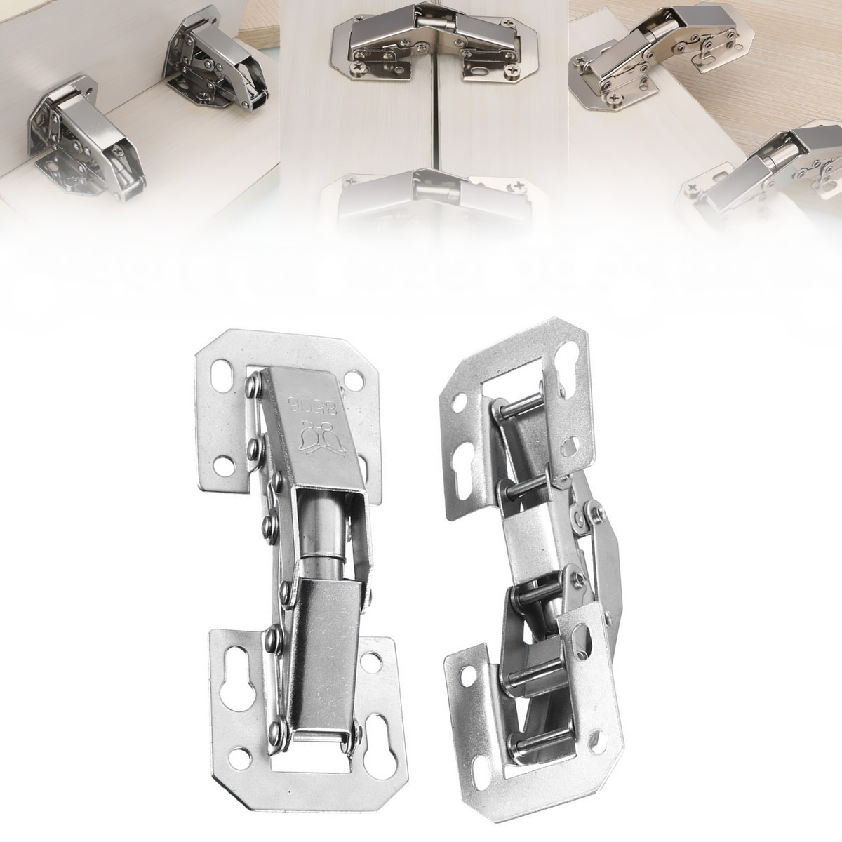 2x 90 Degree Concealed Door Hinges for Kitchen Cabinets Cupboard Hydraulic Furniture Damper Buffer Hinges Bridge Shaped2x 90 Degree Concealed Door Hinges for Kitchen Cabinets Cupboard Hydraulic Furniture Damper Buffer Hinges Bridge Shaped