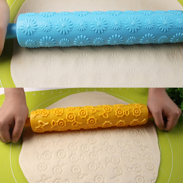 Pastic Non-Stick Fondant Rolling Pin Embossing Cake Dough Roller Decorating Cake Roller Crafts DIY Baking Kitchen Tools