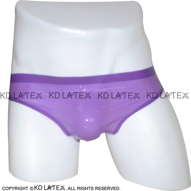 Classical Transparent Purple Low Cut Sexy Latex Briefs Rubber Shorts Underpants Underwear Bottom DK-0005