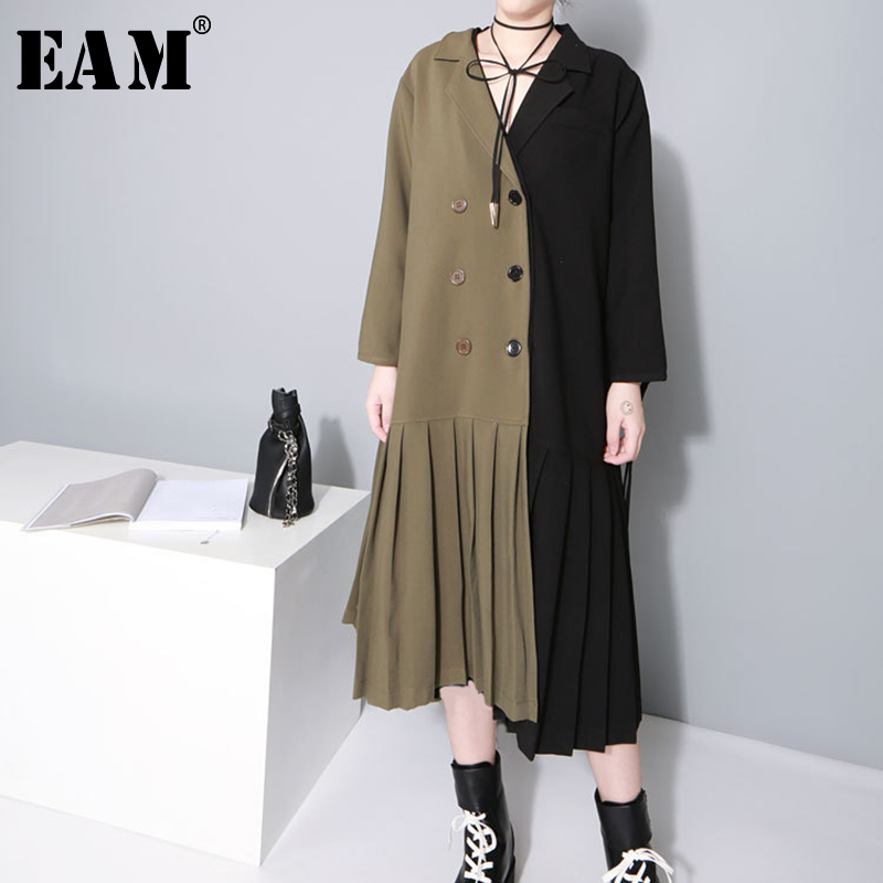 EAM 2019 New Spring Lapel Long Sleeve Hit Color Army Green Split Joint Hem Pleated